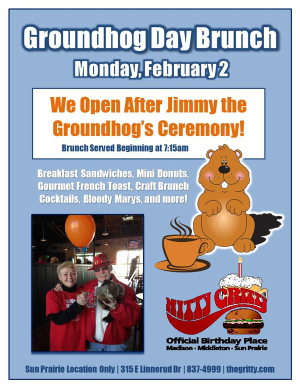 Sun Prairie Nitty Gritty Groundhog Day Brunch